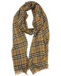 Burberry Vintage Check Lightweight Wool Silk Scarf - Geel