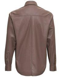 Nanushka Ecological Leather Shirt Marrón
