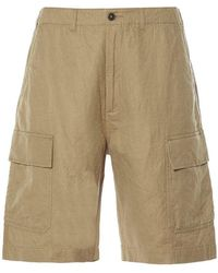 Universal Works Mw Cargo Shorts Linen-cot Suiting - Naturel