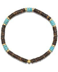 Nialaya Heren Polsband Met Turquoise En Coconut Heishi Kralen En Gold - Blauw