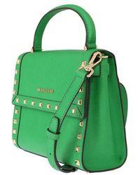 Michael Kors Dillon Studded Leather Messenger Bag Verde
