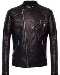 Philipp Plein Biker Jacket With Logo - Zwart