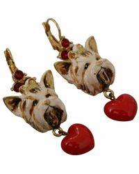 Dolce & Gabbana Heart Dog Brass Leverback Earrings - Rood