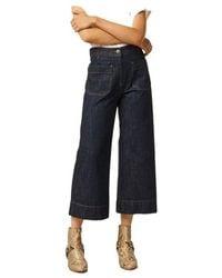 Sessun Seakey 7/8 Flared Raw Jeans - Blauw