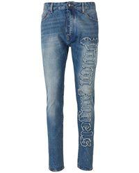Palm Angels Indaco sobre el logotipo jeans - Azul