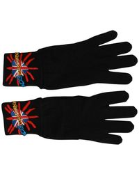 Dolce & Gabbana Loves London Embroidered Wool Gloves - Nero