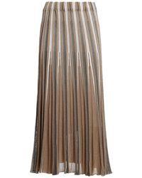 Paolo Fiorillo Capri Lurex pleated midi skirt - Marrone