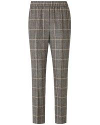 Peserico Checked Wool Pants - Marrone