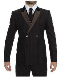 Dolce & Gabbana Striped Wool Slim 3 Piece Suit Tuxedo Marrón