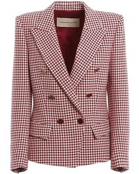 Alexandre Vauthier Houndstooth Patterned Double-breasted Blazer - Rood