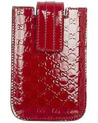 Gucci Tweedehands Guccissima Lakleer Iphone 5 Hoesje - Rood