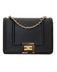 Elisabetta Franchi Shoulder Clutch Bag With Chain And Logo - Zwart