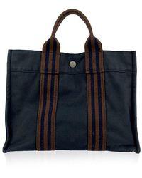 Hermès Paris Vintage Blue Cotton Fourre Tout PM Tote Bag