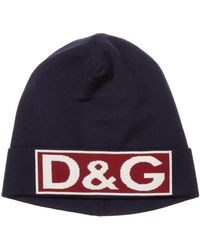 Dolce & Gabbana Men's Wool Beanie Hat - Blauw