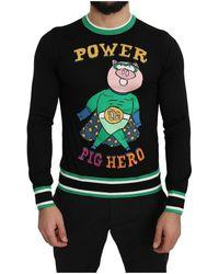 Dolce & Gabbana Knit Pig Pullover - Zwart