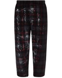 Y-3 Checked Trousers - Grijs