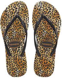 Havaianas Slim Leopard Slippers - Zwart