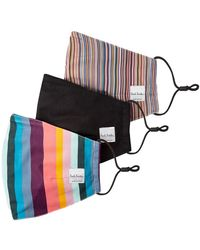 Paul Smith Striped print three pack face masks - Negro