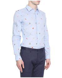 Paul Smith Getailleerd Druk Van De Vogel Shirt - Blauw