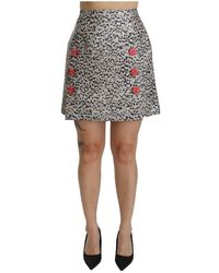 Dolce & Gabbana Muster A-Linie hoher Taillenrock - Grau