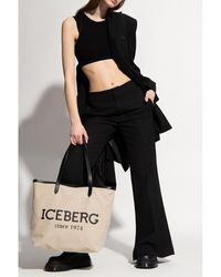 Iceberg Cropped top with logo - Noir