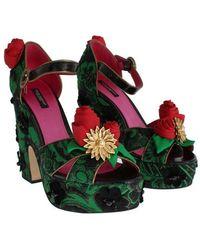 Dolce & Gabbana Brocade Snakeskin Roses Crystal Shoes Verde
