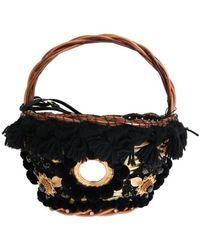 Dolce & Gabbana Straw Snakeskin Pom Pom Crystal Agnese Bag - Zwart