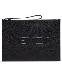 KENZO Clutch In Hammered Leather With Logo - Zwart