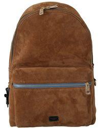 Dolce & Gabbana Suede School Travel Backpack Borse Leather Bag - Marron