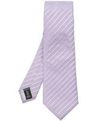 Giorgio Armani Silk Tie With Logo - Paars