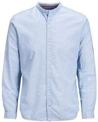 Jack & Jones Camicia collo alla coreana - Blu
