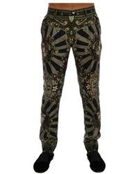 Dolce & Gabbana Carretto Print Silk Dress Pants - Groen
