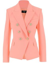 Balmain Blazer Double-breasted Model With Golden Buttons - Roze