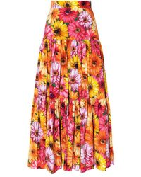 Dolce & Gabbana Floral-printed skirt - Orange