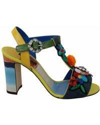 Dolce & Gabbana Majolica Crystal Ankle Strap Sandals Shoes - Blauw