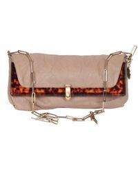 Lanvin Vintage Leather Foldable Odysee Shoulder Bag With Chain Strap - Naturel