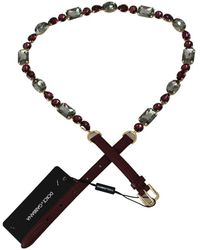 Dolce & Gabbana Leather Crystals Waist Belt - Rouge