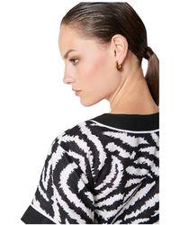 ESCADA Linen Zebra Print Dress Negro