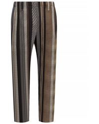 Issey Miyake Patterned Pleated Trousers - Bruin