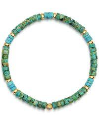Nialaya Heren Polsband Met Afrikaanse Turquoise En Bali Turquoise Heishi Kralen En Gold - Blauw