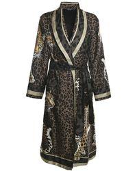 Dolce & Gabbana Leopard-print Silk Robe - Bruin