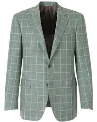 Canali Two-Button Checked Blazer - Verde