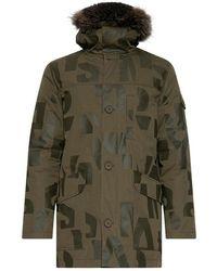 Yves Salomon Down Jacket With Fox Fur - Groen