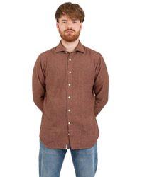 Tintoria Mattei 954 Herringbone Tweed Shirt - Rood