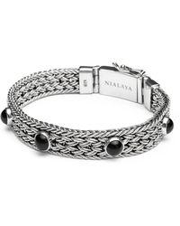 Nialaya Mannen Zilveren Gevlochten Ketting Armband Met Black Onyx - Grijs
