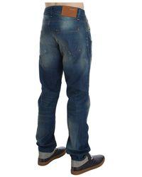 Acht Wash Denim Cotton Stretch Baggy Fit Jeans Azul