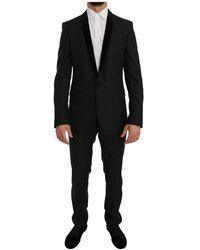 Dolce & Gabbana Tuxedo Gold Slim Fit Smoking Suit - Nero