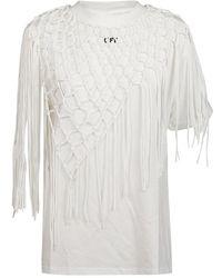 Off-White c/o Virgil Abloh T-shirt Asymmetrical Fishnet - Wit