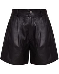 RED Valentino High-waisted Leather Shorts - Zwart