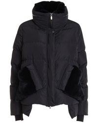Diego M Down Jacket With Fur - Zwart